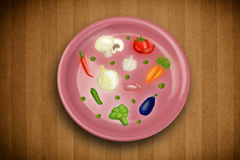 Colorful plate with hand drawn icons, symbols, vegetables and fr Royalty Free Stock Photography