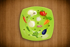 Colorful plate with hand drawn icons, symbols, vegetables and fr Stock Photo