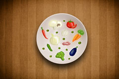 Colorful plate with hand drawn icons, symbols, vegetables and fr Royalty Free Stock Photo