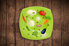 Colorful plate with hand drawn icons, symbols, vegetables and fr. Uits on grungy background Stock Photos