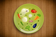 Colorful plate with hand drawn icons, symbols, vegetables and fr Royalty Free Stock Image