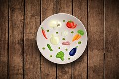 Colorful plate with hand drawn icons, symbols, vegetables and fruits. On grungy background Royalty Free Stock Photo