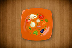 Colorful plate with hand drawn icons, symbols, vegetables Stock Photography