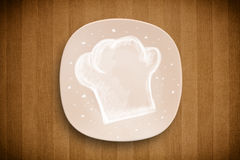 Colorful plate with hand drawn white chef symbol Royalty Free Stock Photos
