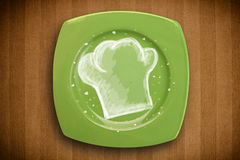 Colorful plate with hand drawn white chef symbol Royalty Free Stock Photography