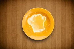 Colorful plate with hand drawn white chef symbol Stock Image