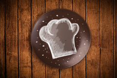 Colorful plate with hand drawn white chef symbol Royalty Free Stock Photo