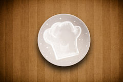 Colorful plate with hand drawn white chef symbol Royalty Free Stock Images
