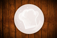 Colorful plate with hand drawn white chef symbol Stock Photography