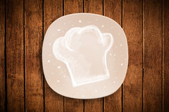 Colorful plate with hand drawn white chef symbol Stock Photos