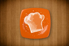 Colorful plate with hand drawn white chef symbol Stock Images