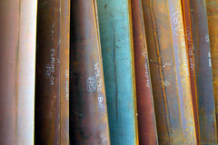 Colorful plate steel for construction. Large, colorful sheets of plate steel ready for shipment to construction projects Royalty Free Stock Photo