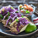 Colorful plate of three mexican carnitas street tacos Royalty Free Stock Image