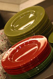 Colorful plates. Red and green plates Stock Photo