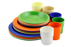 Colorful plates and cup Royalty Free Stock Photos