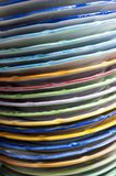 Colorful plates. Detail of a stack of colorful plates, made and hand-painted, to vietri sul mare. charming town at the gates of the Amalfi coast, a UNESCO Royalty Free Stock Photos