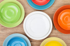 Colorful plates and saucers Stock Image