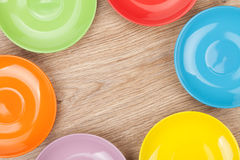 Colorful plates and saucers Royalty Free Stock Photography