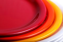 Colorful plates stacked Stock Image