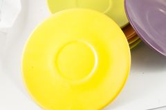 Colorful plates stacked Royalty Free Stock Image