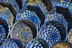 Colorful Plates, Tunisia. Colorful plates with geometric designs on display at a marketplace in Tunisia Royalty Free Stock Photos