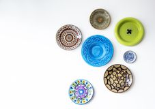 Colorful plates on wall Stock Image