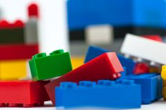Colorful play construction bricks . Colorful play construction bricks close up shot Royalty Free Stock Image