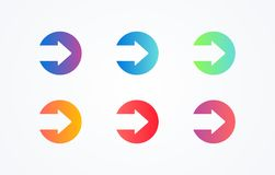 Colorful play sign icon button set on white background. Flat line gradient button collection. Vector web element royalty free illustration