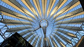 Roof structure of Sony Centeer, Berlin Germany. Colorful and playful open roof structure of the Sony Center in Berlin Germany stock images