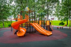 The colorful playground for children in park. stock photo