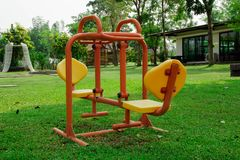 Colorful playground. In  green garden Royalty Free Stock Image