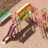 Colorful playground. Photo of Modern children playground in park Stock Photos