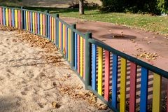 Colorful Playground Picket Fence stock images