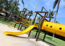 Colorful playground at a tropical resort Stock Images
