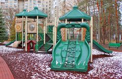 Colorful Playground in winter Stock Photography