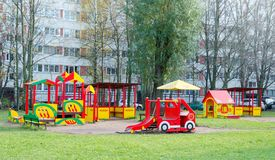 Colorful playground in the yard royalty free stock images