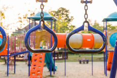 Colorful playground on yard in the park. Royalty Free Stock Photos