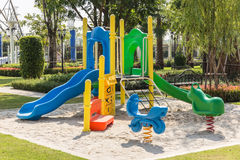 Colorful playgrounds in park Stock Photos