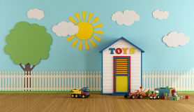 Colorful Playroom with wooden house Stock Image