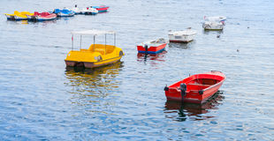 Colorful pleasure boats moored in port of Avcilar. District of Istanbul, Turkey Stock Image