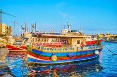 The colorful pleasure boats, Valletta, Malta royalty free stock photo