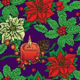 Colorful poinsettia and holly, red candle decorated with berries and pine cone. Hand drawn doodle sketch color illustration, seamless pattern design on blue Stock Image