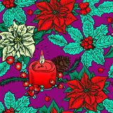 Colorful poinsettia and holly, red candle decorated with berries and pine cone. Hand drawn doodle sketch color illustration, seamless pattern design on purple Stock Photography