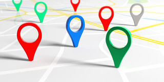 Colorful pointers on a map. 3d illustration Stock Photography
