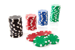 Colorful poker casino chips Royalty Free Stock Photography