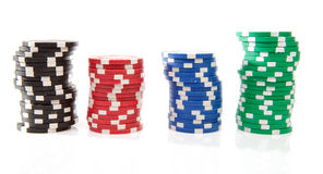 Colorful poker casino chips Royalty Free Stock Image