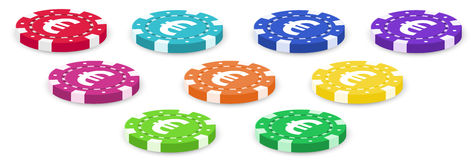 Colorful poker chips Royalty Free Stock Photos