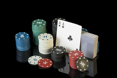 Colorful poker chips with cards Royalty Free Stock Photos