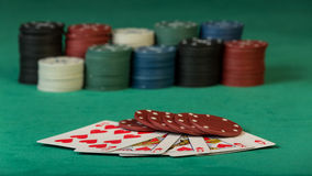 Colorful poker chips with cards Stock Images
