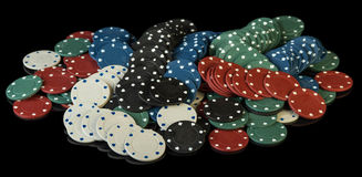 Colorful poker chips Stock Photography